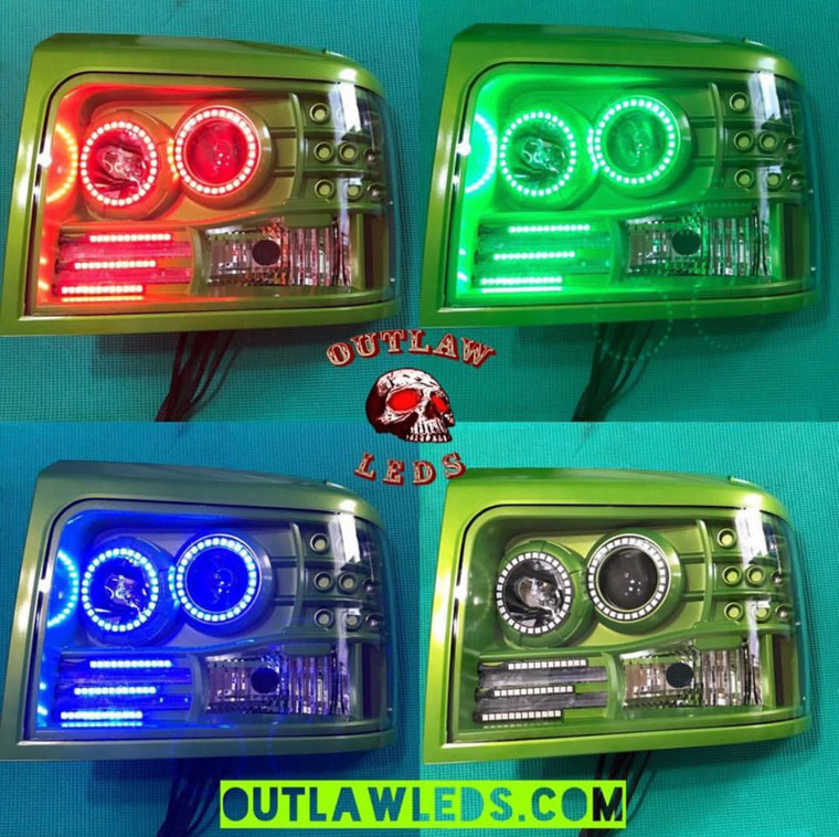 1992-1997 OBS Headlights Double Halo 3 Strips
