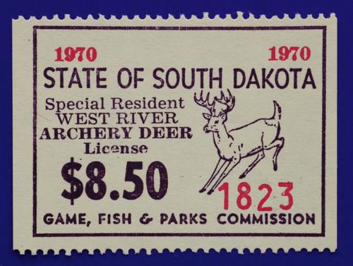 1970 South Dakota Deer - Archery, West River License Stamp (SDWD07)