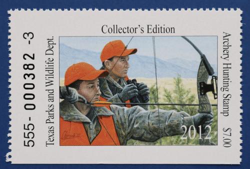 2012 Texas Archery Hunting Stamp (TXA38)