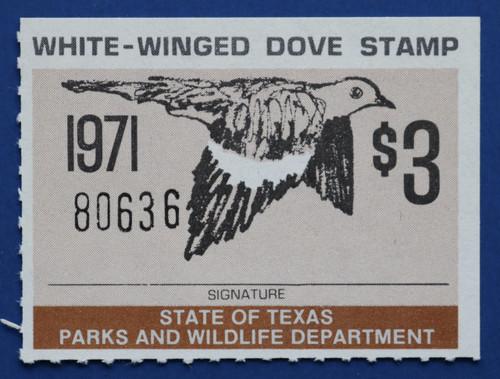 1971 Texas White-Winged Dove Stamp (TXD01)
