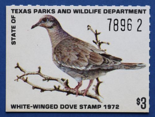 1972 Texas White-winged Dove Stamp (TXD02)