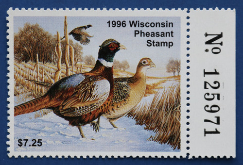 1996 Wisconsin Pheasant Stamp with right serial # tab (WIP05R)