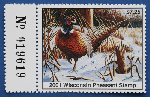 2001 Wisconsin Pheasant Stamp with left serial # tab (WIP10L)