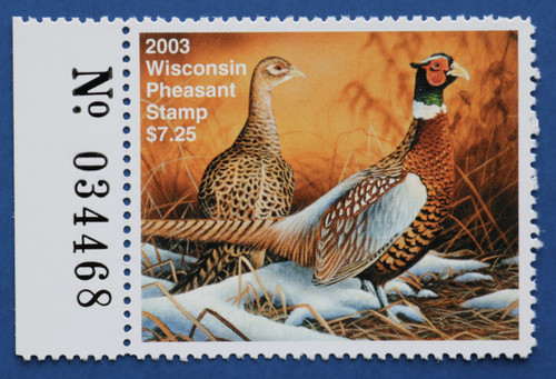 2003 Wisconsin Pheasant Stamp with left serial # tab (WIP12L)