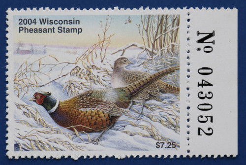 2004 Wisconsin Pheasant Stamp with right serial # tab (WIP13R)