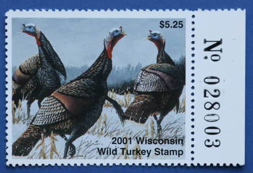 2001 Wisconsin Wild Turkey Stamp with right serial # tab (WIWT19R)