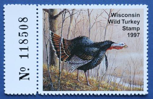 1997 Wisconsin Wild Turkey Stamp with left serial # tab (WIWT15L)