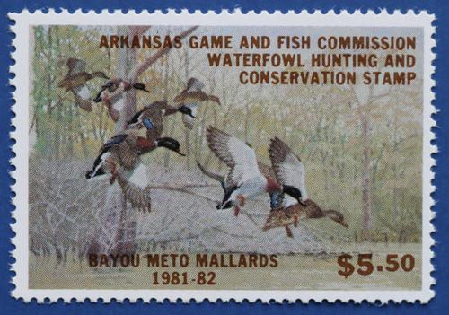 1981 Arkansas State Duck Stamp (hunter type) AR01h