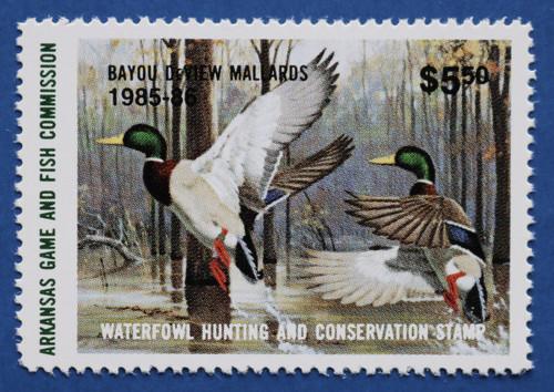 1985 Arkansas State Duck Stamp - hunter type (AR05h)