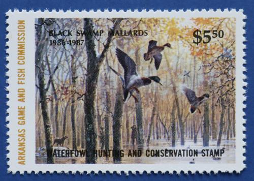 1986 Arkansas State Duck Stamp - hunter type (AR06h)