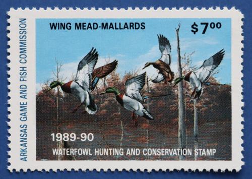 1989 Arkansas State Duck Stamp - hunter type (AR09h)