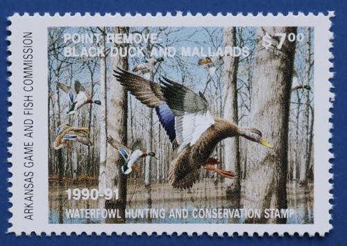 1990 Arkansas State Duck Stamp - hunter type (AR10h)