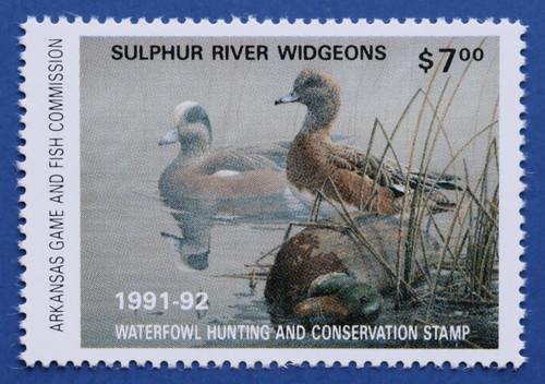 1991 Arkansas State Duck Stamp - hunter type (AR11h)