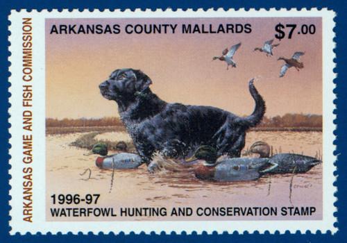 U.S. (AR16h) 1996 Arkansas Waterfowl Hunting & Conservation Stamp (hunter type)