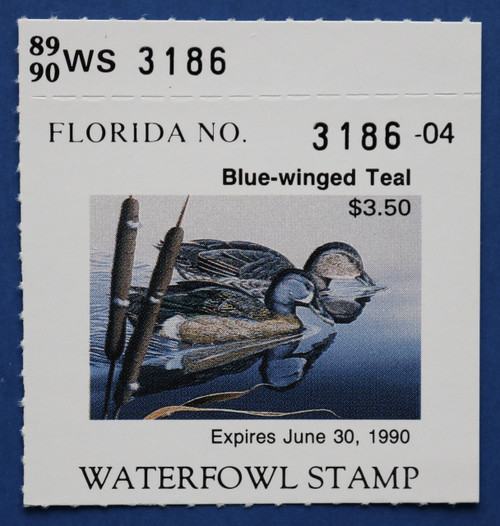 1989 Florida State Duck Stamp with tab (FL11T)