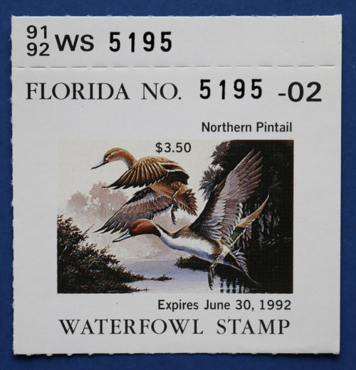 1991 Florida State Duck Stamp with tab (FL13T)