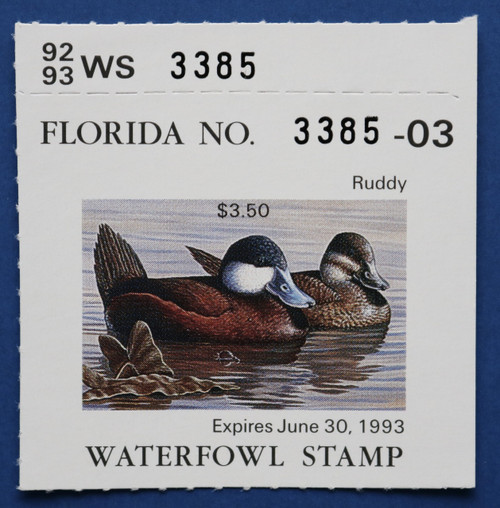 1992 Florida State Duck Stamp with tab (FL14T)