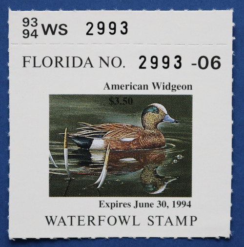 1993 Florida State Duck Stamp with tab (FL15T)
