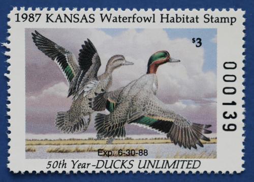 1987 Kansas State Duck Stamp (KS01)