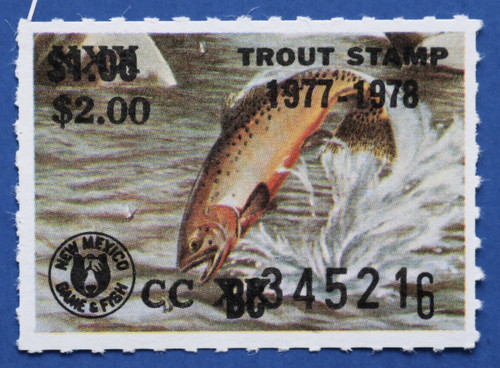 1977 New Mexico Trout Stamp - revalued (NMT12)