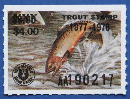 1977 New Mexico Trout Stamp - revalued (NMT14)