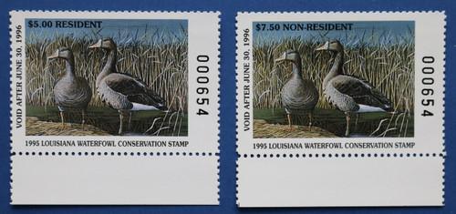 1995 Louisiana State Duck Stamp matching serial # set (LA07, LA07A)