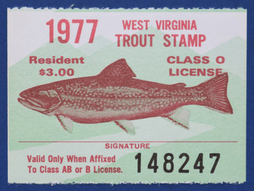 1977 West Virginia Trout Stamp (WVT13)