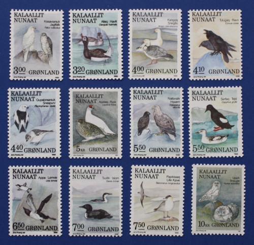 Greenland (177-188) 1987-1990 Birds stamp set