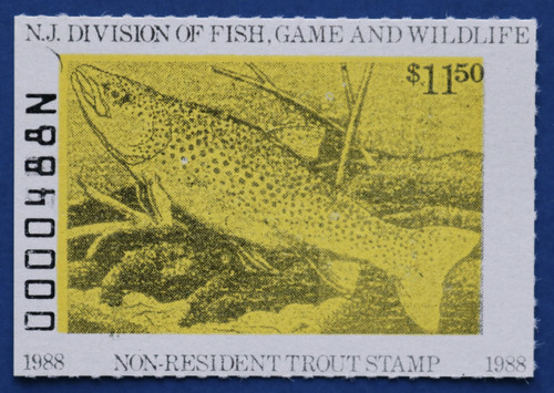 1988 New Jersey Nonresident Trout Stamp (NJT72)
