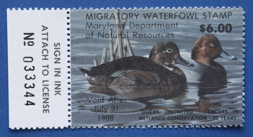 1987 Maryland Migratory Waterfowl Stamp w/left tab (MD14L)