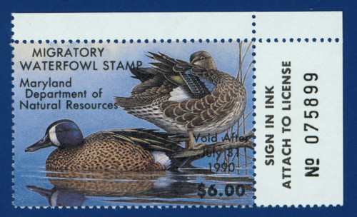 1989 Maryland Migratory Waterfowl Stamp w/right tab (MD16R)