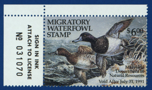1990 Maryland Migratory Waterfowl Stamp w/left tab (MD17L)