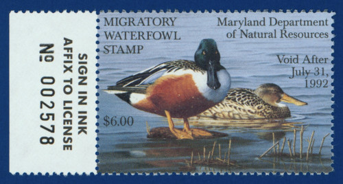 1991 Maryland Migratory Waterfowl Stamp w/left tab (MD18L)