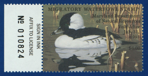 1992 Maryland Migratory Waterfowl Stamp w/left tab (MD19L)