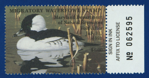1992 Maryland Migratory Waterfowl Stamp w/right tab (MD19R)