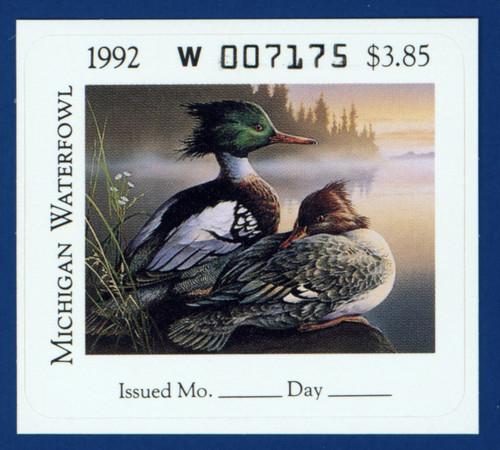 1992 Michigan Waterfowl Stamp (MI17)