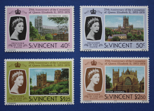 St. Vincent (528-531) QEII Coronation 25th Anniversary singles set