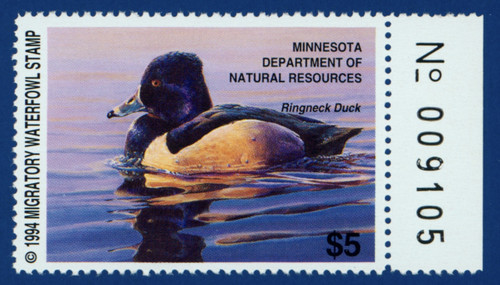 1994 Minnesota Migratory Waterfowl Stamp with right serial # tab (MN18R)