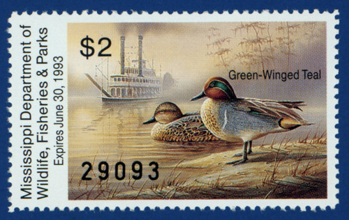 1992 Mississippi Waterfowl Stamp (MS17)