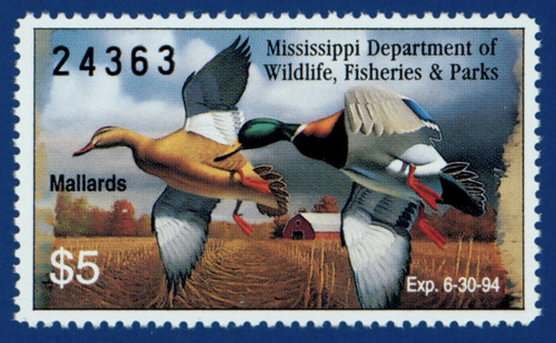 1993 Mississippi Waterfowl Stamp (MS18)