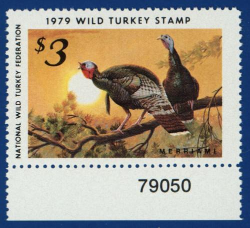 1979 National Wild Turkey Federation Wild Turkey Stamp - plate # single (NWTF04)