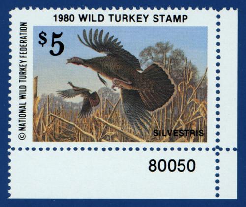 1980 National Wild Turkey Federation Wild Turkey Stamp - plate # single (NTWF05)