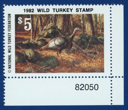 1982 National Wild Turkey Federation Stamp Wild Turkey - lower right plate # single (NWTF07)