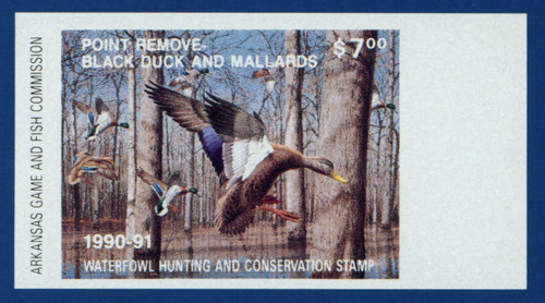1990 Arkansas Waterfowl Hunting & Conservation Proof Stamp (AR10p)