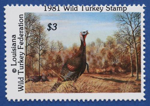 1981 Louisiana Wild Turkey Federation Stamp (LAWT01)