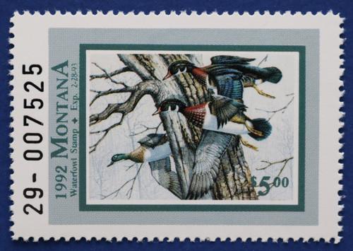 1992 Montana Waterfowl Stamp - Green-headed Hen ERROR (MT07c)