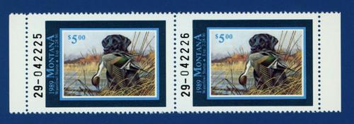 1989 Montana Waterfowl Stamp - hunter pair (MT04h)