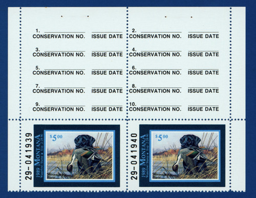 1989 Montana Waterfowl Stamp - hunter top pair (MT04ht)