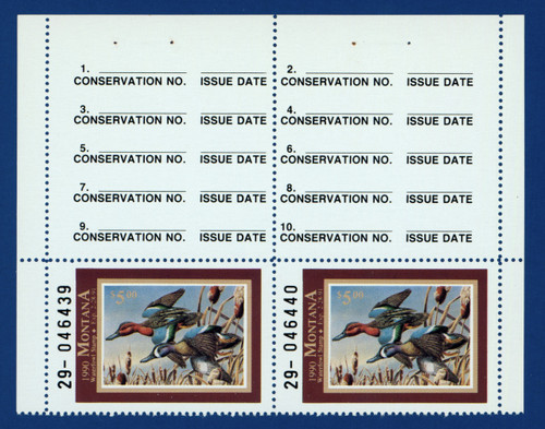 1990 Montana Waterfowl Stamp - hunter top pair (MT05ht)
