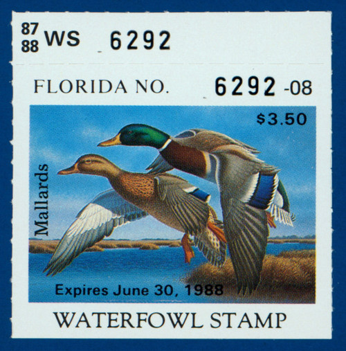 1987 Florida Waterfowl Stamp with top serial # tab (FL09T)